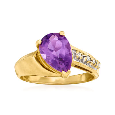 C. 1980 Vintage 1.60 Carat Amethyst Ring with Diamond Accents in 14kt Yellow Gold