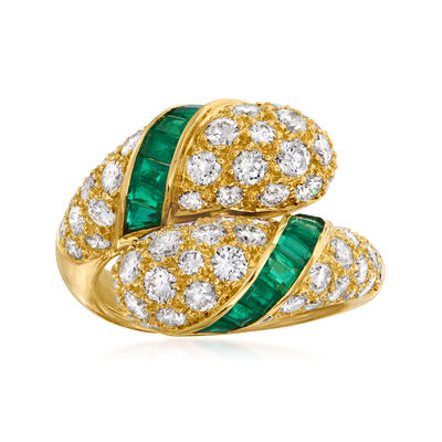 C. 1990 Vintage Piaget 2.60 ct. t.w. Diamond and 1.60 ct. t.w. Emerald Bypass Ring in 18kt Yellow Gold