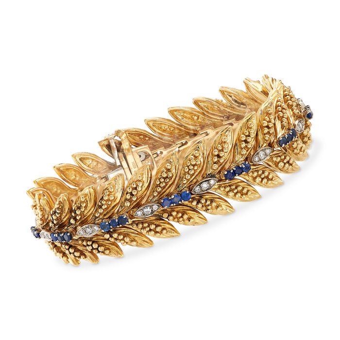 "C. 1970 Vintage 2 ct. t.w. Sapphire and .55 ct. t.w. Diamond Bracelet in 18 kt Yellow Gold. 7"", , default"