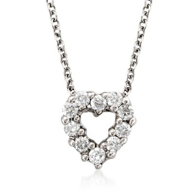 "Roberto Coin ""Tiny Treasures"" .11 ct. t.w. Diamond Heart Necklace in 18kt White Gold"