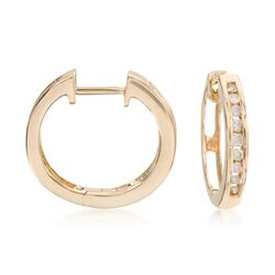 .25 ct. t.w. Diamond Hoop Earrings in 14kt Yellow Gold , , default