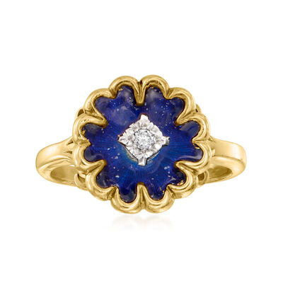 C. 1967 Vintage Blue Enamel Ring with Diamond Accents in 18kt Yellow Gold with British Hallmark