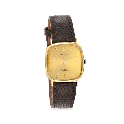 C. 1990 Vintage Rolex Cellini Men's 18mm Manual 18kt Yellow Gold Watch with Brown Leather, , default