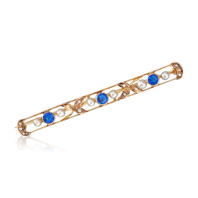 C. 1930 Vintage 4mm Blue Glass Pin with Seed Pearl in 10kt Yellow Gold, , default
