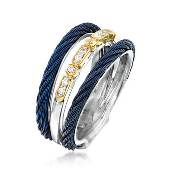 """ALOR """"Classique"""" Multi-Row Blue Stainless Steel Ring with Diamond Accents and 18kt Yellow Gold. Size 7"""
