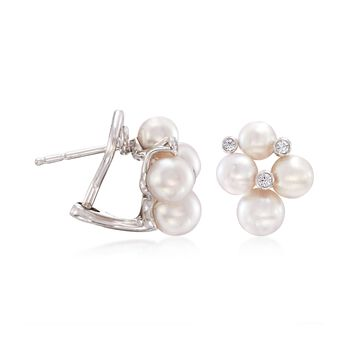 Mikimoto Bubbles 4.75-6mm A+ Akoya Pearl Earrings With Diamond Accents in 18-Karat White Gold, , default