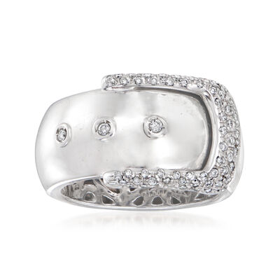C. 1990 Vintage .35 ct. t.w. Diamond Buckle Ring in 18kt White Gold