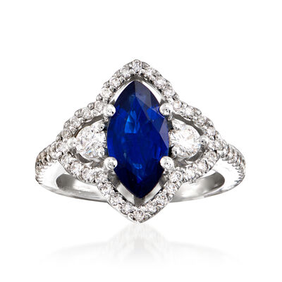 C. 1990 Vintage 1.85 Carat Sapphire and .75 ct. t.w. Diamond Ring in 18kt White Gold, , default