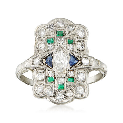C. 1950 Vintage .70 ct. t.w. Diamond and .18 ct. t.w. Synthetic Multi-Stone Dinner Ring in Platinum, , default