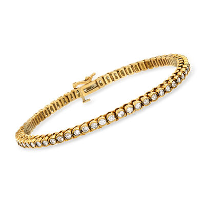 C. 1980 Vintage 3.00 ct. t.w. Diamond Line Bracelet in 14kt Yellow Gold, , default