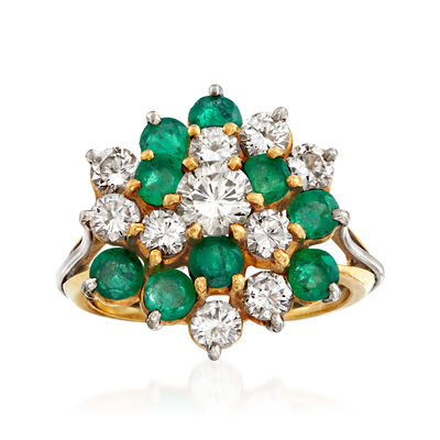 C. 1980 Vintage 1.25 ct. t.w. Diamond and 1.10 ct. t.w. Emerald Cluster Ring in 14kt Two-Tone Gold, , default