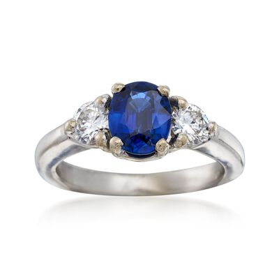 C. 2000 Vintage 1.15 Carat Sapphire and .50 ct. t.w. Diamond Ring in 14kt White Gold, , default
