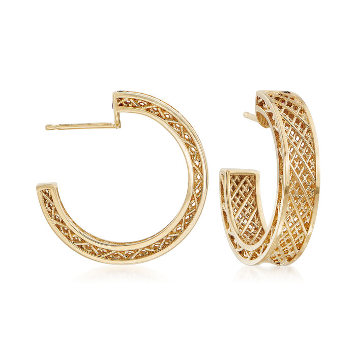 "Roberto Coin 18kt Yellow Gold J-Hoop Earrings. 3/4"", , default"