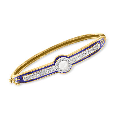 C. 1950 Vintage 5.5mm Cultured Pearl, .35 ct. t.w. Diamond and Blue Enamel Bangle Bracelet in 14kt Yellow Gold with 14kt White Gold