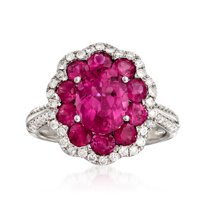 C. 1980 Vintage 1.99 Carat Pink Tourmaline, 1.60 ct. t.w. Ruby and .45 ct. t.w. Diamond Cluster Ring in 18kt White Gold, , default