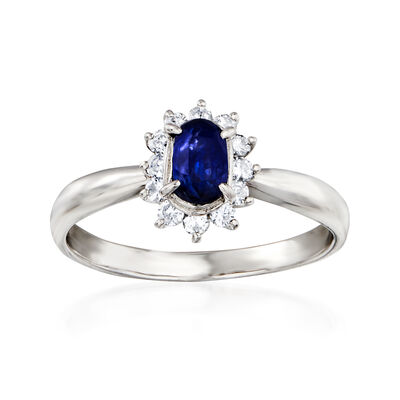 C. 1990 Vintage .63 Carat Sapphire and .22 ct. t.w. Diamond Ring in Platinum