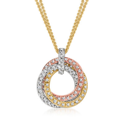 C. 1990 Vintage .75 ct. t.w. Diamond Trinity Pendant Necklace in 14kt Tri-Colored Gold