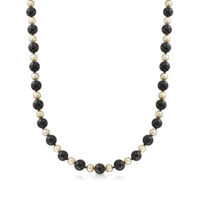 C. 1980 Vintage 7mm Cultured Pearl and Black Onyx Bead Necklace with 18kt Yellow Gold