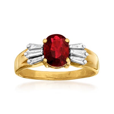 C. 1980 Vintage 1.35 Carat Ruby and .60 ct. t.w. Diamond Ring in 14kt Yellow Gold, , default