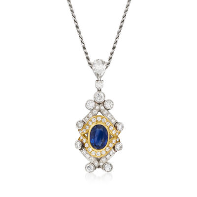 C. 1970 Vintage 2.92 Carat Sapphire and 2.97 ct. t.w. Diamond Pendant Necklace in Platinum, 18kt Yellow Gold and 14kt White Gold