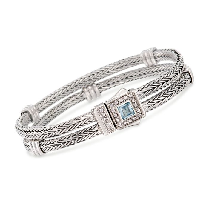 "Phillip Gavriel ""Woven"" .80 Carat Blue Topaz and .40 ct. t.w. White Sapphire Station Link Bracelet in Sterling Silver. 7"", , default"