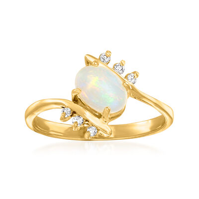 C. 1980 Vintage Opal Ring with Diamond Accents in 14kt Yellow Gold