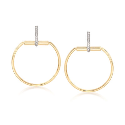 "Roberto Coin ""Parisienne"" .20 ct. t.w. Diamond Open Circle Drop Earrings in 18kt Two-Tone Gold, , default"