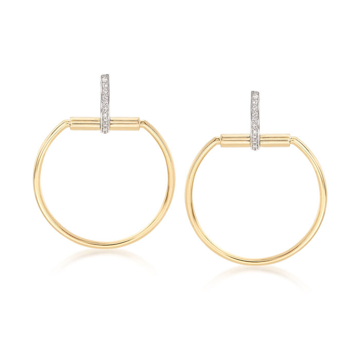"Roberto Coin ""Parisienne"" .20 ct. t.w. Diamond Open Circle Drop Earrings in 18kt Two-Tone Gold. Drop Earrings, , default"