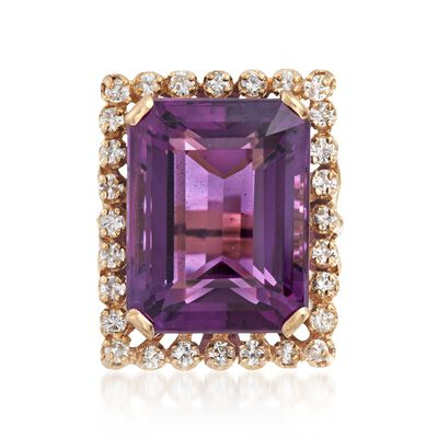C. 1980 Vintage 20.50 Carat Amethyst and .85 ct. t.w. Diamond Ring in 14kt Yellow Gold, , default