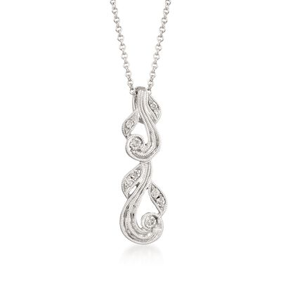 "Simon G. ""Vintage Explorer"" Diamond-Accented Swirl Pendant Necklace in 18kt White Gold"