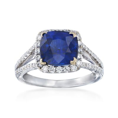 C. 2000 Vintage 3.57 Carat Sapphire and .67 ct. t.w. Diamond Ring in 18kt White Gold
