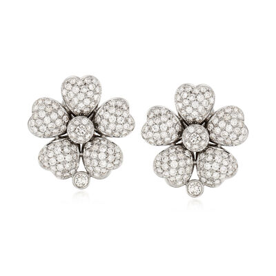 C. 1990 Vintage 5.40 ct. t.w. Pave Diamond Floral Earrings in 18kt White Gold
