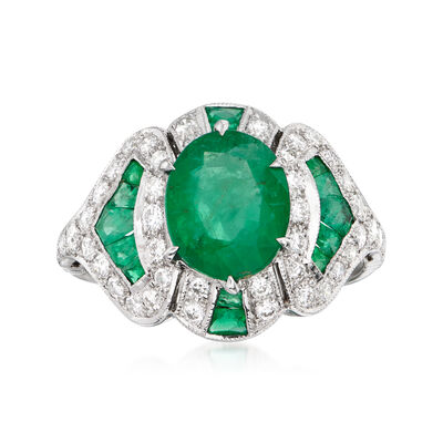 C. 1990 Vintage 2.75 ct. t.w. Emerald and .60 ct. t.w. Diamond Ring in 18kt White Gold