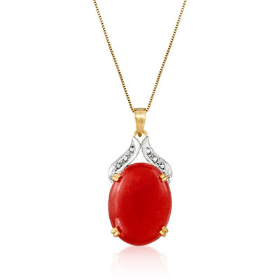 C. 1980 Vintage Red Jade Pendant Necklace in 14kt Yellow Gold, , default