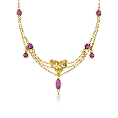 C. 1940 Vintage 3.20 ct. t.w. Amethyst Multi-Strand Necklace with Baroque Pearl in 10kt Yellow Gold