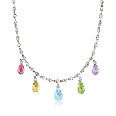 C. 1990 Vintage 17.50 ct. t.w. Multi-Gemstone and 1.00 ct. t.w. Diamond Drop Necklace in 18kt White Gold
