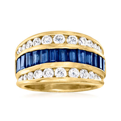 C. 1980 Vintage 2.10 ct. t.w. Sapphire and 1.10 ct. t.w. Diamond Ring in 18kt Yellow Gold