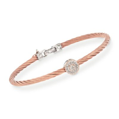 "ALOR ""Classique"" Rose Cable Station Bracelet With Diamond Accent and 18kt Gold, , default"