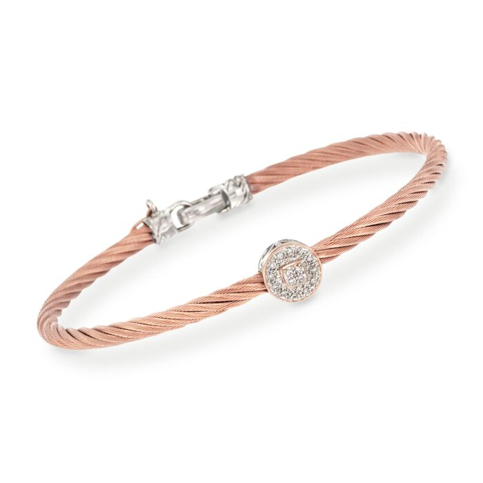 """ALOR Diamond Round Station Bracelet in 18-Karat Two-Tone Gold and Rose Stainless Steel. 7"""", , default"""
