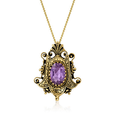 C. 1950 Vintage 4.40 Carat Amethyst Pin/Pendant Necklace in 14kt Yellow Gold