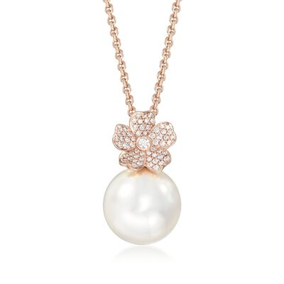 "Mikimoto ""Cherry Blossom"" 12mm A+ South Sea Pearl and .22 ct. t.w. Diamond Floral Necklace in 18kt Rose Gold"