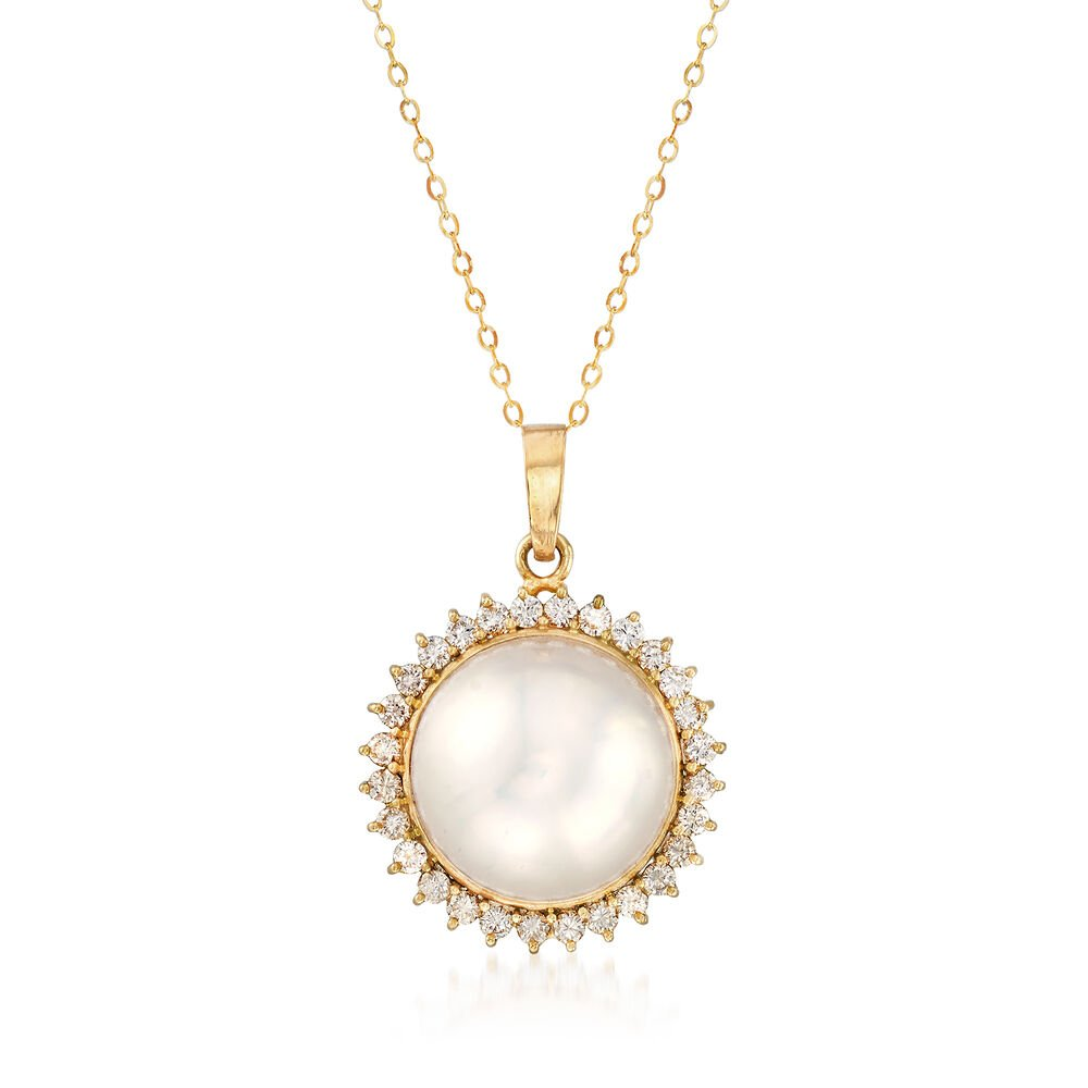 6fdd249ea8065 C. 1980 Vintage 17mm Mabe Pearl and 1.15 ct. t.w. Diamond Pendant Necklace  in 14kt Yellow Gold