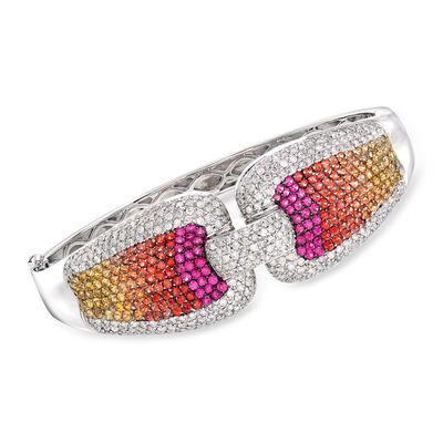 C. 1980 Vintage 5.80 ct. t.w. Multicolored Sapphire and 4.00 ct. t.w. Diamond Bangle Bracelet in 18kt White Gold