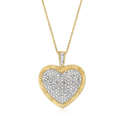 C. 1980 Vintage 1.00 ct. t.w. Diamond Heart Pendant Necklace in 10kt and 14kt Yellow Gold