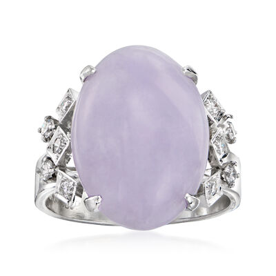 C. 1980 Vintage Lavender Jade and .33 ct. t.w. Diamond Ring in 14kt White Gold
