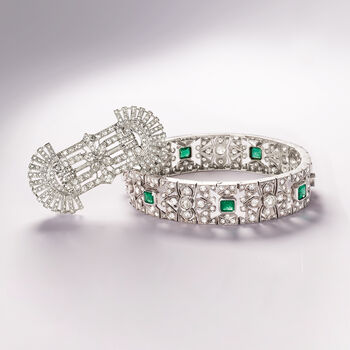 """C. 1950 Vintage 5.65 ct. t.w. Diamond and 2.40 ct. t.w. Emerald Bracelet in 14kt White Gold. 7.5"""", , default"""