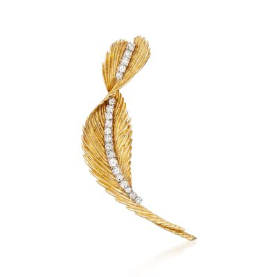 C. 1980 Vintage J.E. Caldwell 1.75 ct. t.w. Diamond Feather Pin in 14kt Yellow Gold, , default