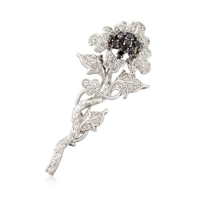 C. 2000 Vintage 1.80 ct. t.w. Black and White Diamond Floral Pin in 18kt White Gold, , default
