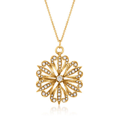 C. 1930 Vintage .20 Carat Diamond and Seed Pearl Sunburst Pendant Necklace in 14kt Yellow Gold