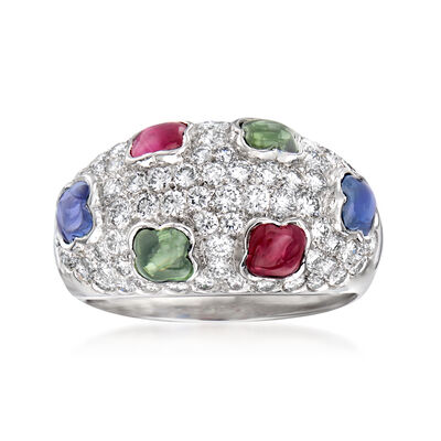 C. 1990 Vintage 1.85 ct. t.w. Multi-Gemstone and 1.15 ct. t.w. Diamond Ring in 18kt White Gold